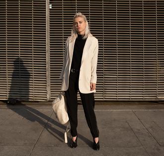 always judging blogger minimalist leather backpack blazer