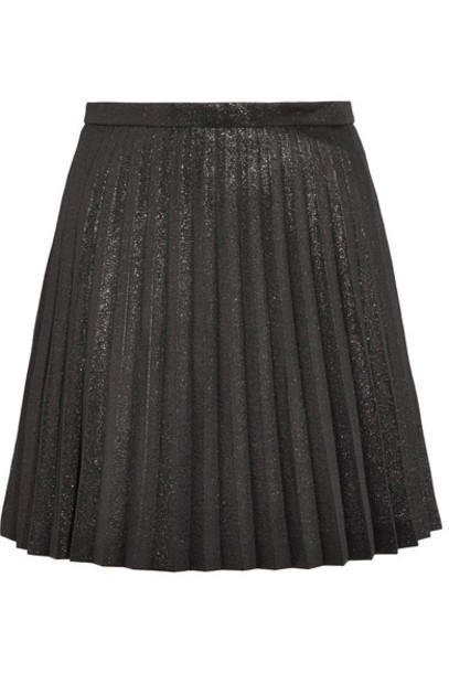 J.Crew skirt mini skirt mini pleated cotton black