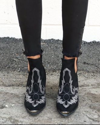 shoes blackboots western style leather embroidered
