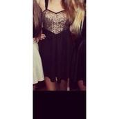 dress,sparkle,gold,black,glitter,pretty,sequins