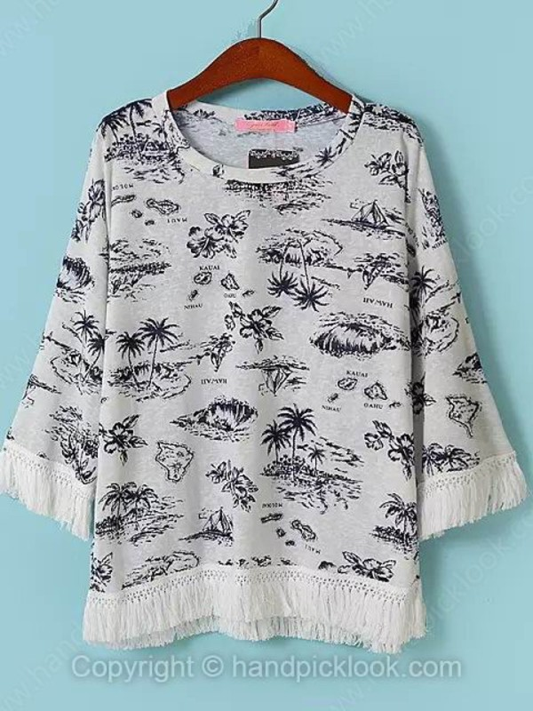 top clothes tropical black and white