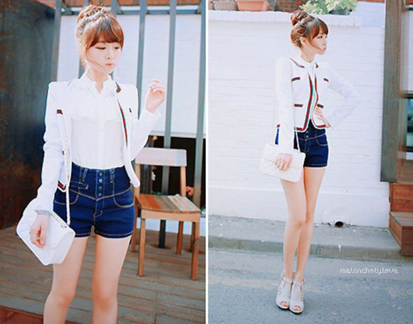 shorts High waisted shorts ulzzang kfashion jacket