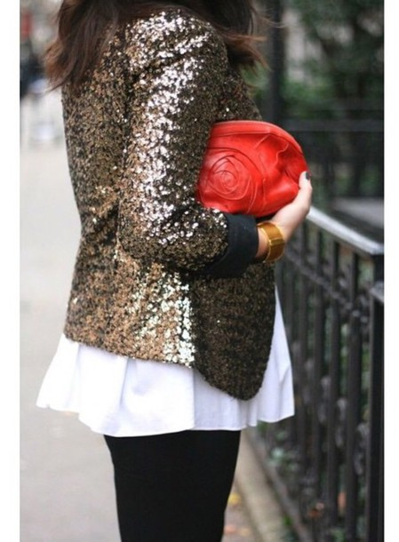jacket sequin jacket in gold