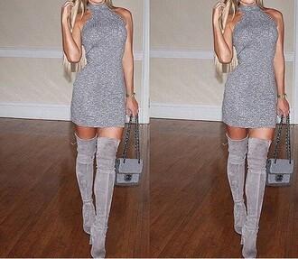 dress grey boots short black warm knit cotton