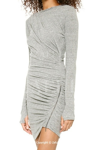 dress grey grey dress bodycon dress bodycon clubwear zip sweater dress assymetrical zipper zaful free shipping casual casual dress back to school