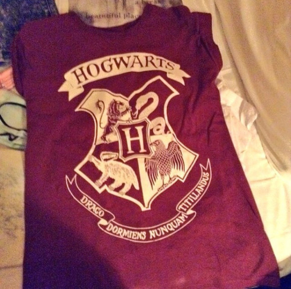 harry potter gold hogwarts shirt top red
