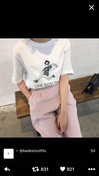 pants pink pink pants nude nude pants t-shirt clothes baggy t shirt life goes on classy girly pretty shirt white t-shirt graphic tee quote on it tumblr aesthetic tumblr shirt tumblr t shirt grunge soft grunge grunge shirt grunge t shirt soft grunge shirt soft grunge t shirt life goes on shirt white shirt