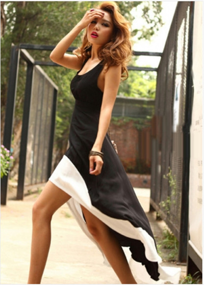 dress high low black white sleeveless open back tank