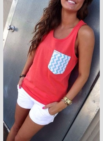 shirt white girly white shorts chevron blue red shirt blue chevron