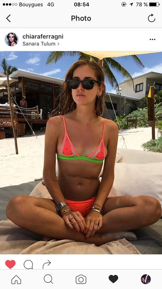 swimwear watermelon print watermelon bikini chiara ferragni bikini rayban
