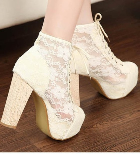 Shoes: high heels, cute high heels, white, white high heels, lace ...
