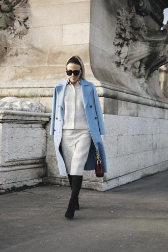 damsel in dior blogger coat shirt skirt bag blue coat spring outfits