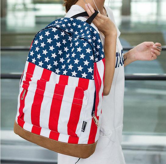 2014 women  high quality backpack with star canvas american us uk flag  backpack  femenino amarillo mochila bolso  bolsa sacs