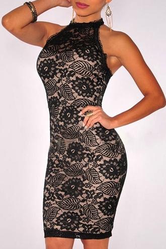 dress zaful black dress black lace dress lace dress floral dress black floral dress bodycon dress black bodycon dress