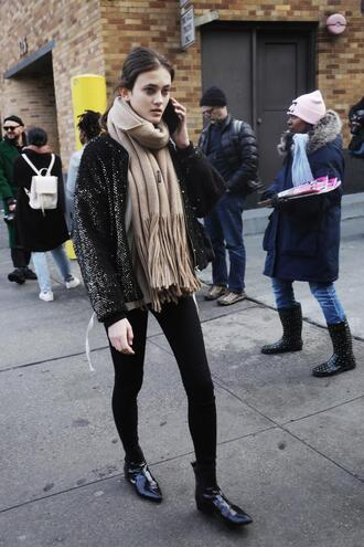 jacket nyfw 2017 fashion week 2017 fashion week streetstyle sequins sequin jacket bomber jacket scarf sweater beige sweater denim jeans black jeans skinny jeans black skinny jeans boots black boots patent shoes patent boots