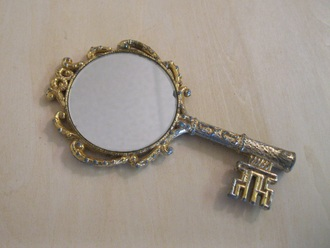 mirror key gold sequins pocket mirror make-up bathroom