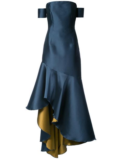 gown women blue satin dress