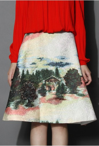 Country View Embossed A-line Skirt - Retro, Indie and Unique Fashion