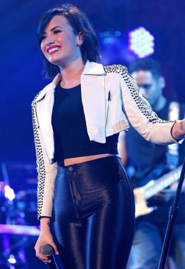 jacket, demi lovato, studded jacket, cropped, pants ...