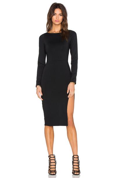 29ba2e94969 Donna Mizani Side Slit Midi Dress in black - Wheretoget