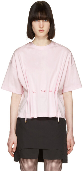 t-shirt shirt drawstring pink top