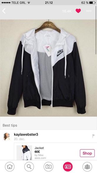 jacket black white nike windbreaker nike windbreaker