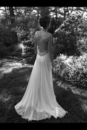 dress backless prom dress prom dress cute dress tumblr open back sparkles formal long white prom dress
