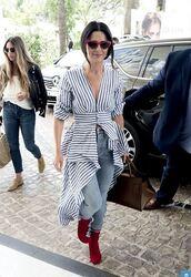 blouse,stripes,striped shirt,cheryl cole,streetstyle,cannes,jeans,denim,boots