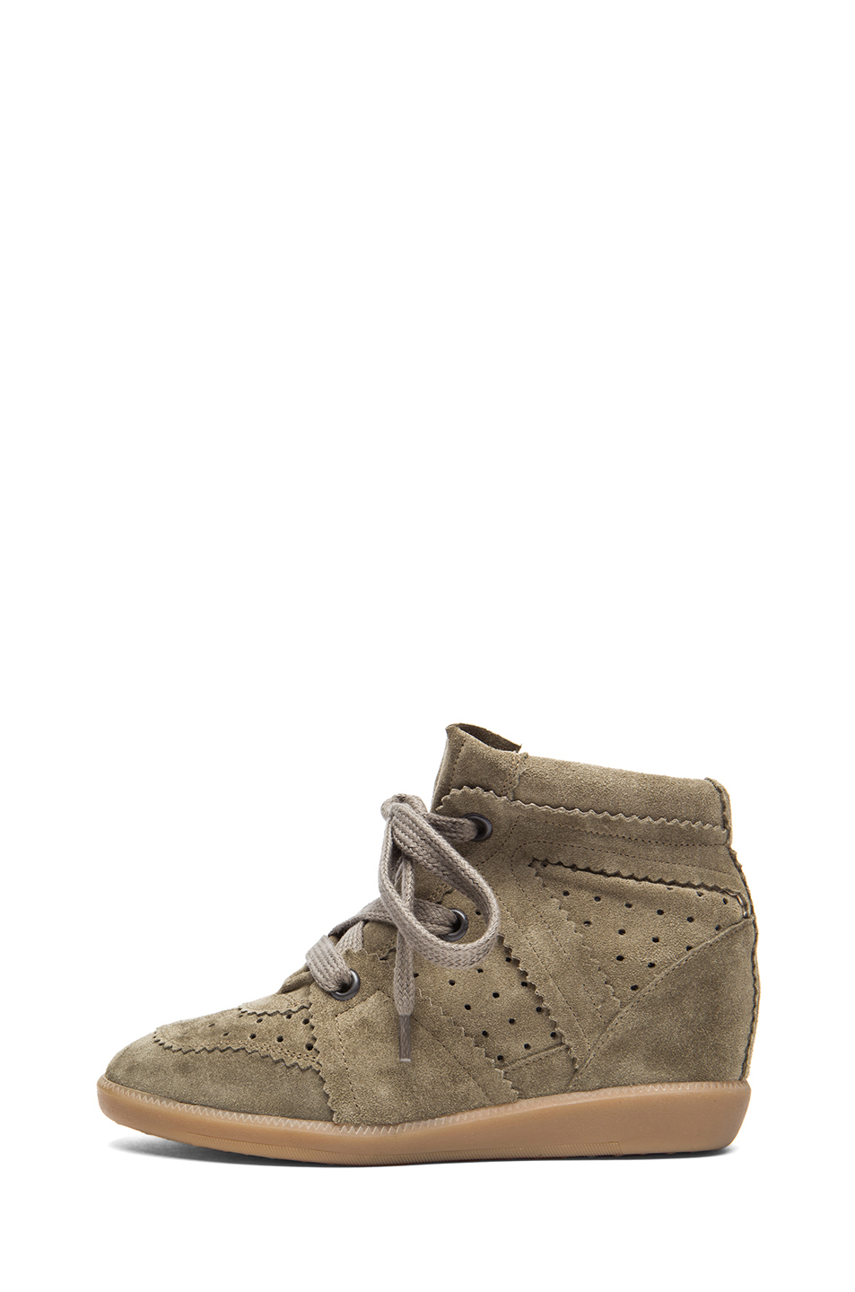 Isabel Marant|Bobby Calfskin Velvet Leather Sneakers in Taupe