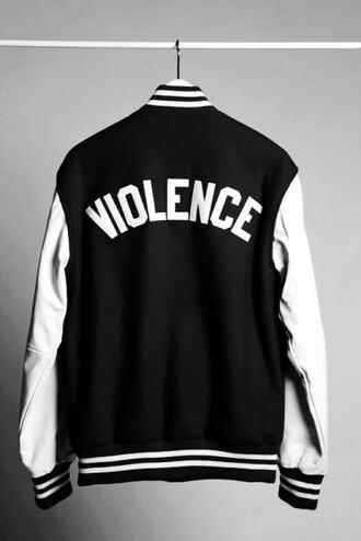 jacket black and white varsity jacket letterman violence baseball jacket