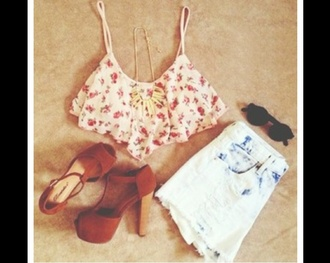 tank top floral flowered top flowered love bustier floral tank top summer outfits high waisted shorts high heels denim vintage levis shorts shoes