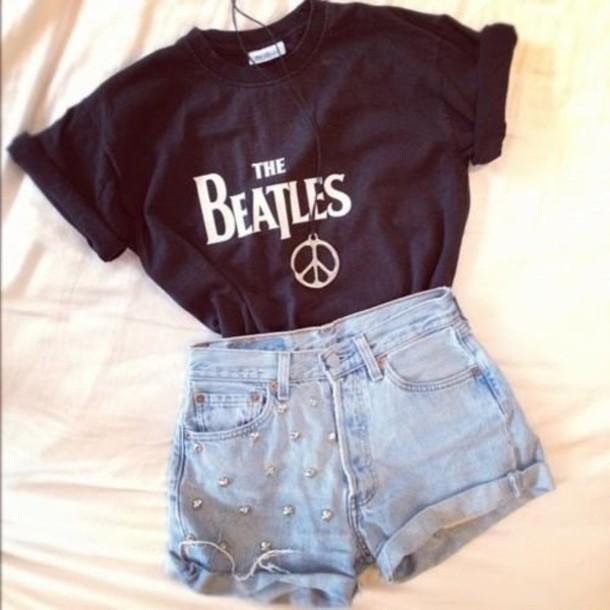T Shirt Black The Beatles Denim Wheretoget