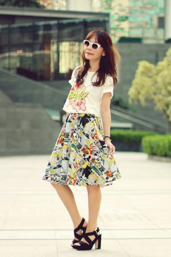 mochaccinoland t-shirt skirt sunglasses