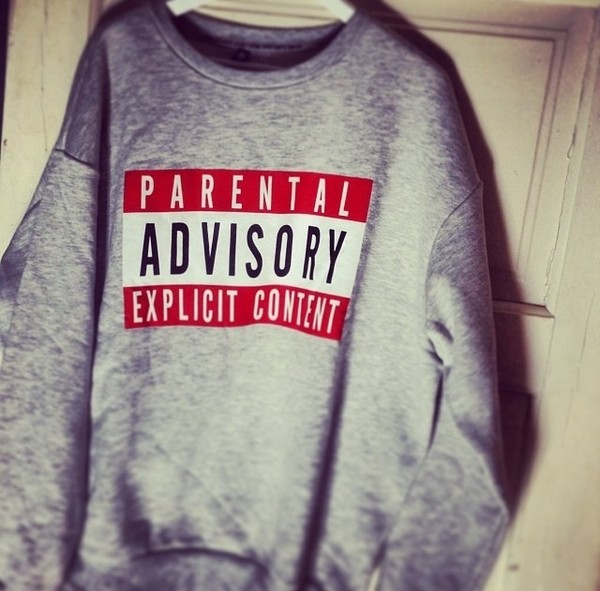 sweater parental advisory explicit content grey sweater funny hipster grunge red grey soft grunge