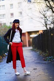 preppy fashionist,blogger,blouse,coat,pants,red pants,fall outfits,loafers,white bag