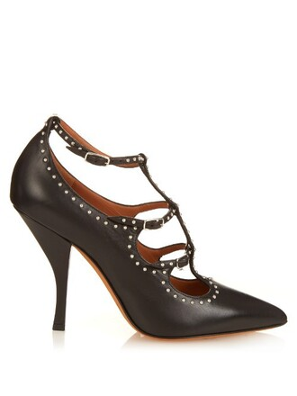 elegant embellished pumps leather black shoes