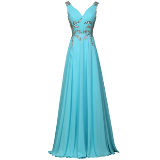 dress blue long chiffon beaded v neck fashion elegant evening dress prom dress