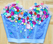 tank top,beaded,blue,mermaid,pretty,buster,top,colorful,shirt,lace,crop tops,blue crop top,cute,corset top,gems,gemstone,bedazzled,jewels,bralette,bustier,rhinestones,crochet