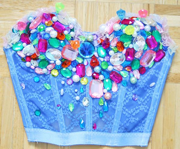 tank top beaded blue mermaid pretty buster top colorful shirt lace crop tops blue crop top cute corset top gems gemstone bedazzled jewels bralette bustier rhinestones crochet