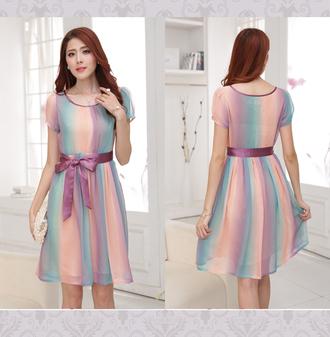 dress summer dress striped dress fashion dress pleated