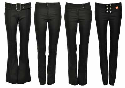 NEW WOMENS PLAIN BLACK STRETCH HIPSTER LADIES TROUSERS   Amazing Shoes UK
