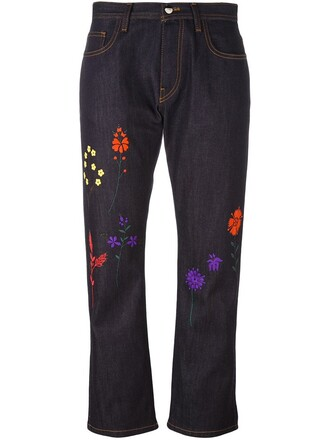 jeans embroidered jeans embroidered women spandex floral cotton blue