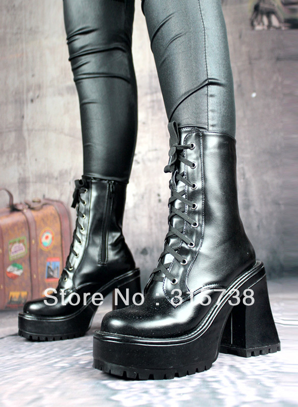 by DHL,Demonia Gothic Men Ankle COSPlay Combat Goth Boot Black ...