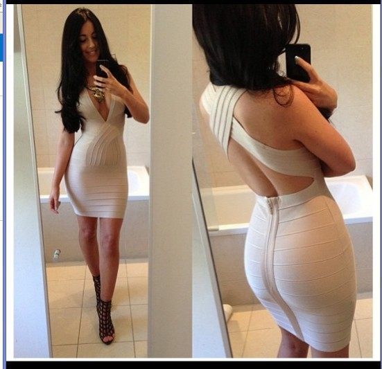 Free Shipping Dresses New Fashion 2014 Hot Sexy Deep V Neck Cross Back Cheap Club Party Cocktail Bodycon Nude Bandage Dress-in Apparel & Accessories on Aliexpress.com