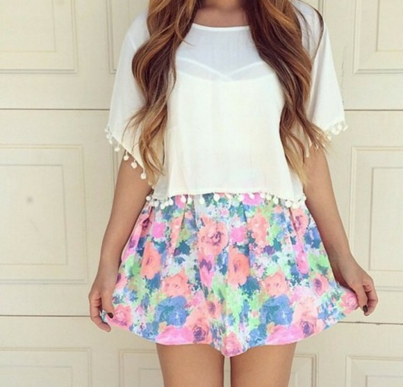 floral skirt bright colors bright colours bright color skirt bright skirt bright flower print