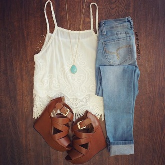 blouse white t-shirt white top white lace white blouse lace jeans wedges teenagers fashion teen fashion girly