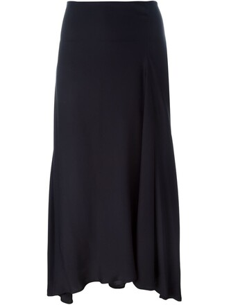 skirt midi skirt women midi blue silk