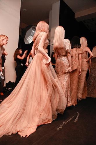 dress runway backstage model salmon