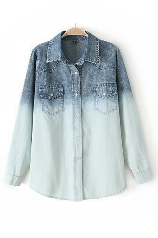 Cool Gradient Ramp Denim Shirt [FDBI00613] - PersunMall.com