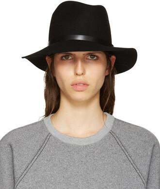 fedora black wool hat